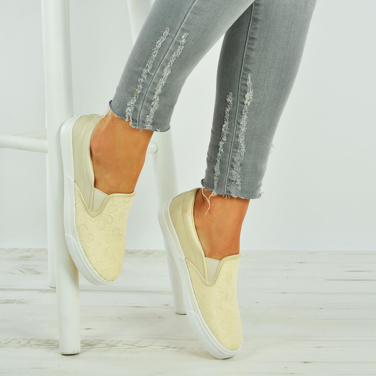 Nouveau Haut Slip On Plimsolls Lace Floral Baskets Baskets Plat Chaussures Tailles