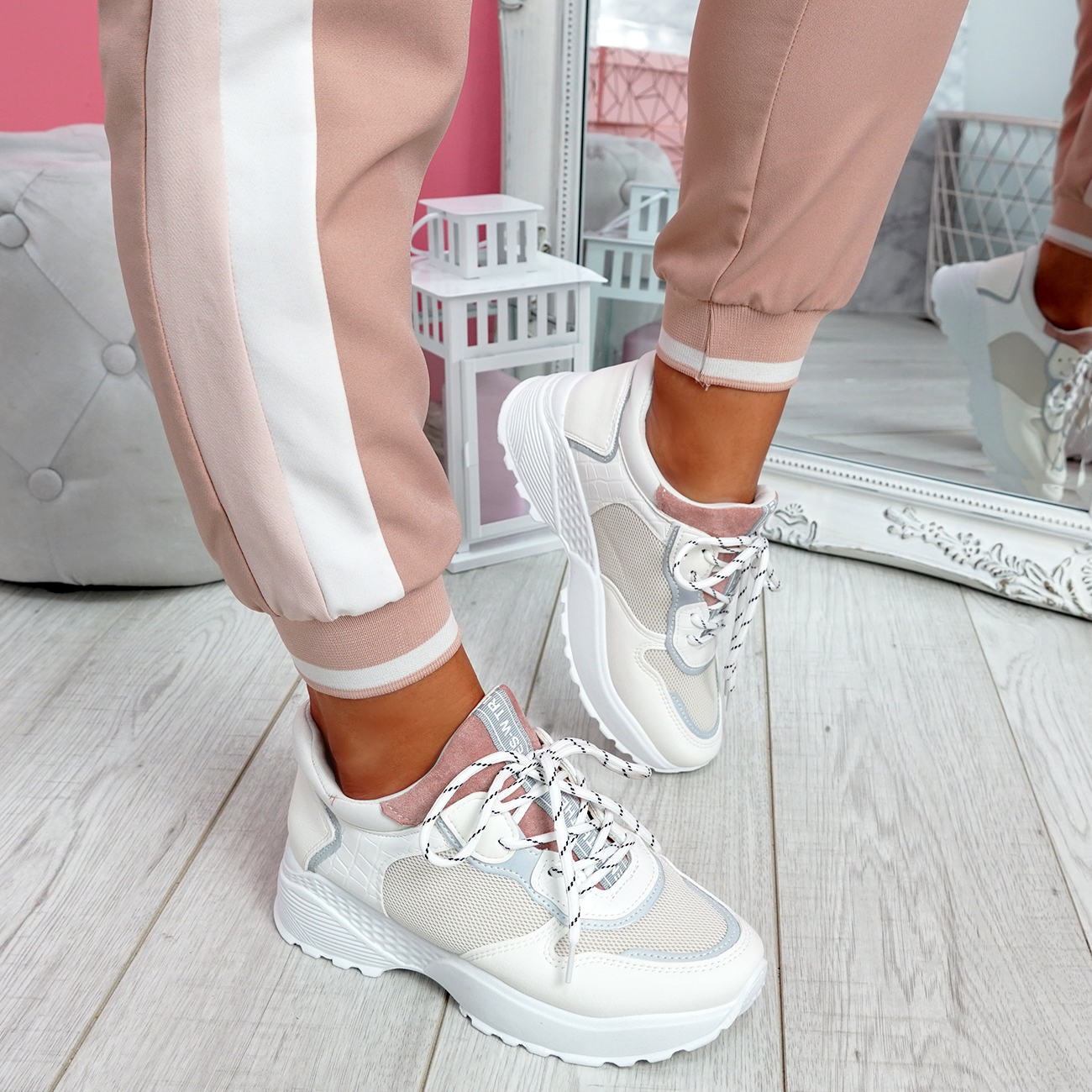 WOMENS LADIES LACE UP CHUNKY TRAINERS SNAKE SKIN SNEAKERS WOMEN SHOES SIZE UK