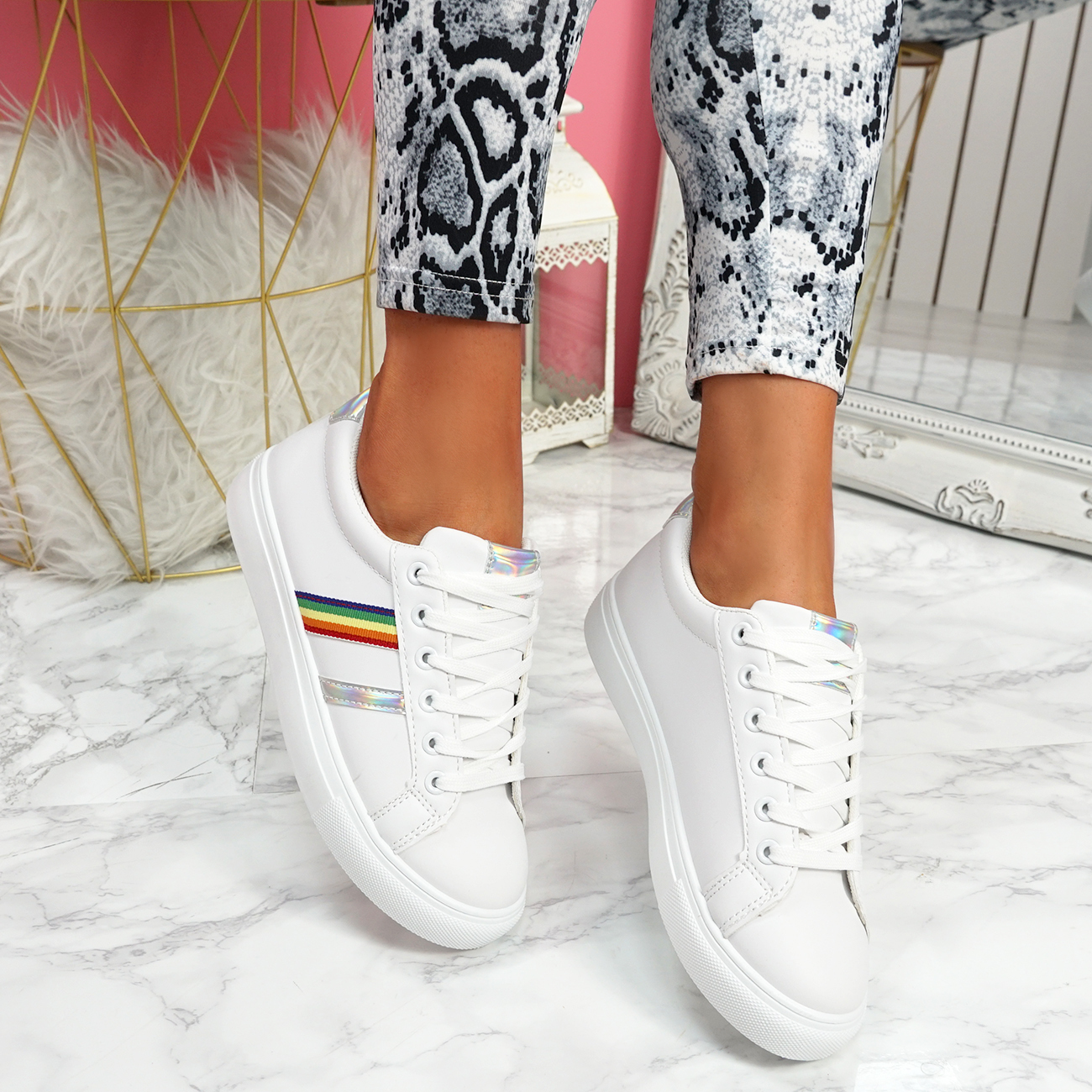 WOMENS LADIES RAINBOW TRAINERS LACE UP PLATFORM SNEAKERS WALKING WOMEN SHOES