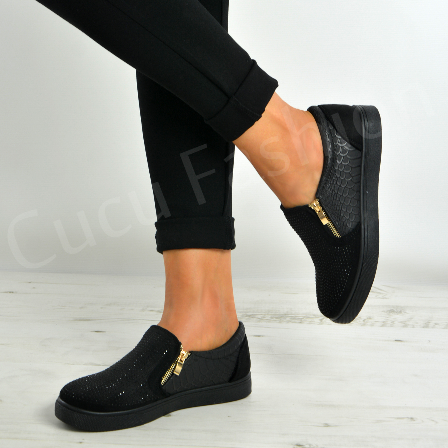 Studded Flat Trainers Zip Shoes Size Uk