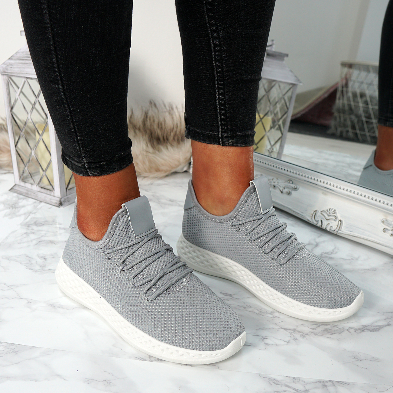 WOMENS LADIES LACE UP RUNNING GYM TRAINERS SNEAKERS FASHION SHOES SIZE UK