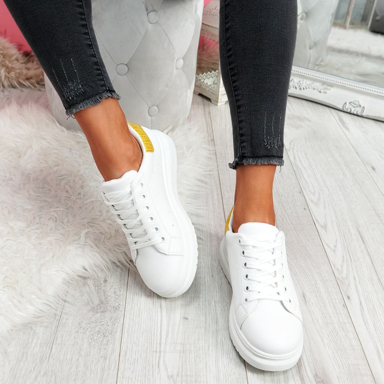 WOMENS LADIES LACE UP PLATFORM TRAINERS WOMEN WALKING CYCLING SNEAKERS SHOES
