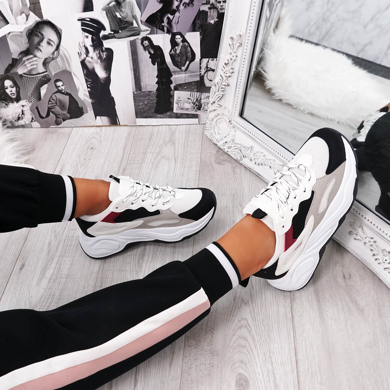 WOMENS LADIES LACE UP CHUNKY SOLE TRAINERS PLATFORM FASHION SNEAKERS SHOES SIZE