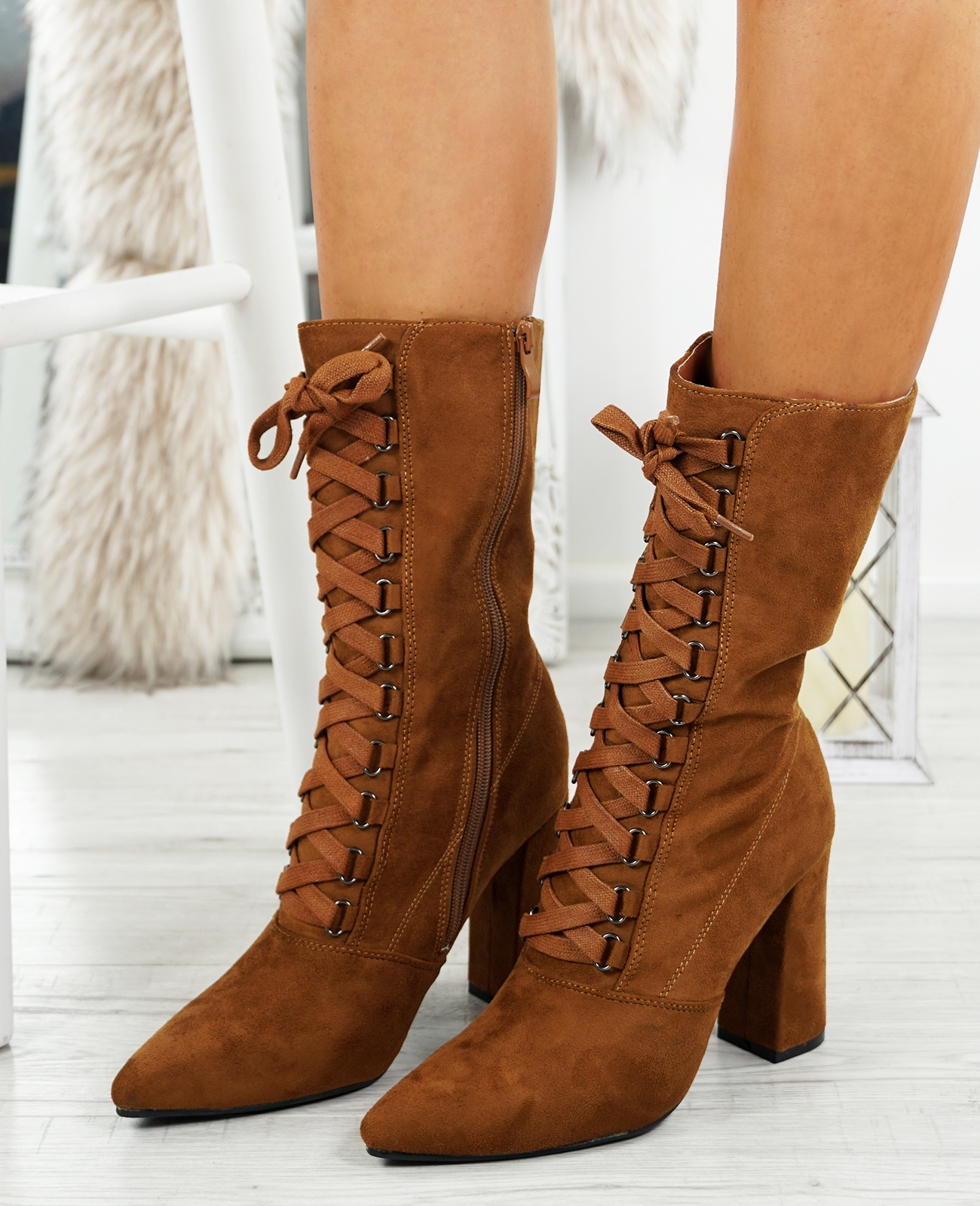 LADIES WOMENS HIGH TOP ANKLE BOOTS SIDE ZIP LACE BLOCK HEEL POINTED TOE SHOES