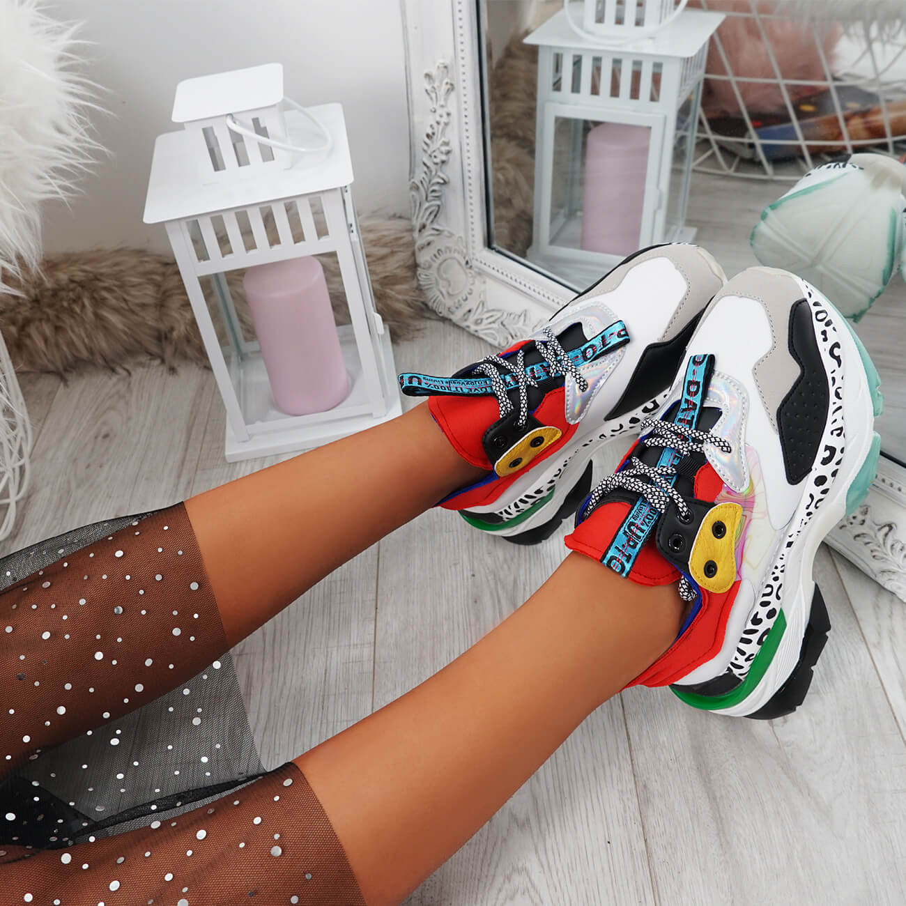 WOMENS LADIES MULTICOLOR CHUNKY TRAINERS LACE UP PARTY FASHION SNEAKERS SHOES