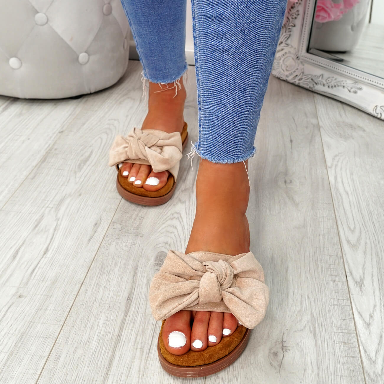 WOMENS LADIES FLAT SANDALS FRONT BOW COMFY SUMMER CASUAL HOLIDAY SHOES SIZE UK