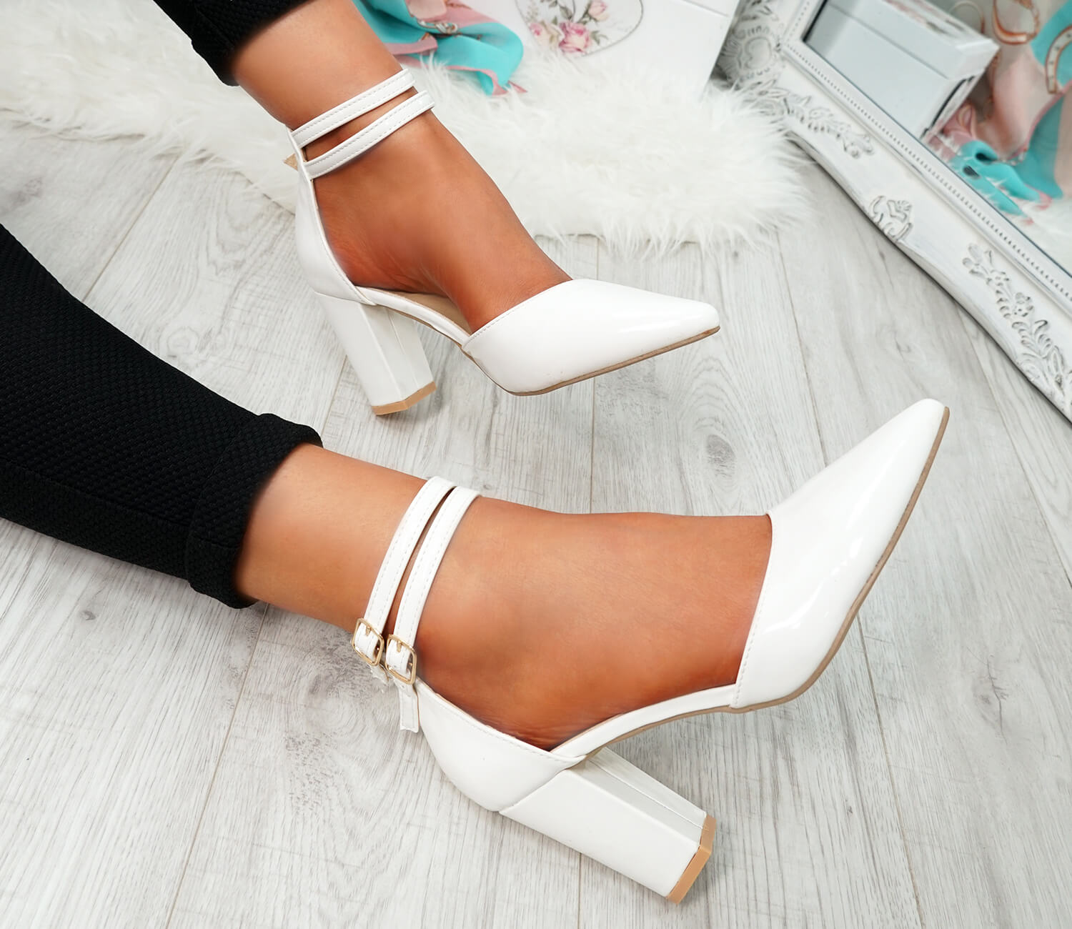 WOMENS LADIES ANKLE DOUBLE STRAP HIGH BLOCK HEEL POINTED TOE PARTY SHOES SIZE