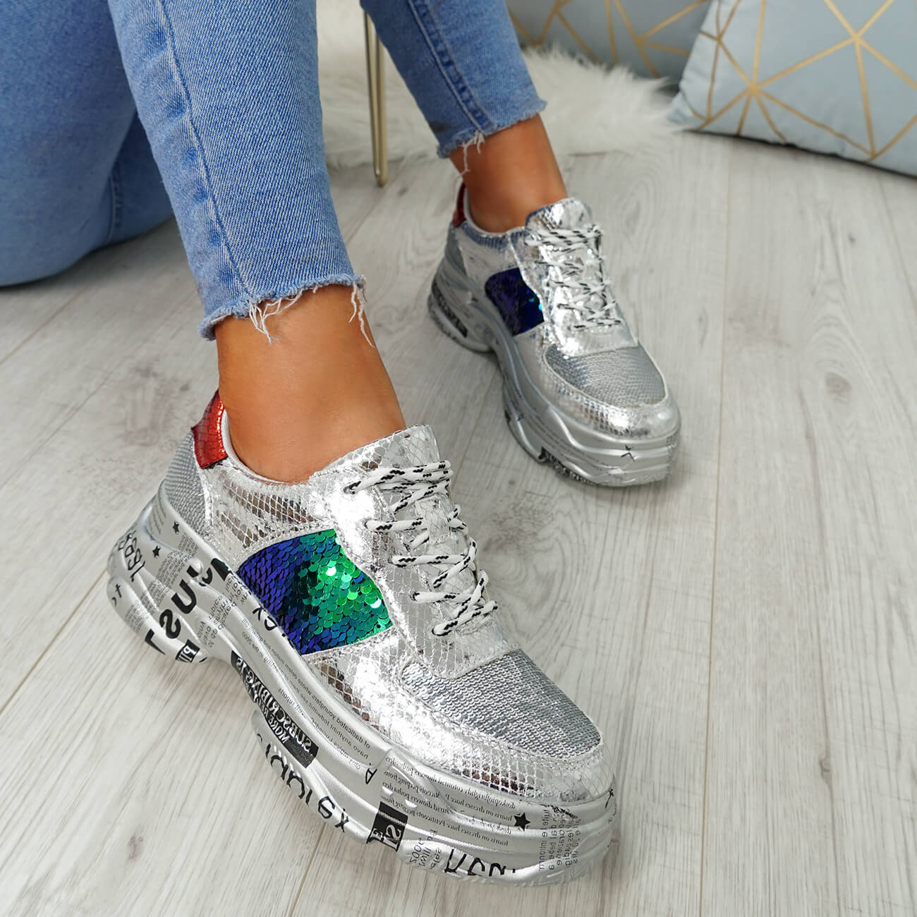 WOMENS LADIES LACE UP SNAKE GLITTER SPARKLE CHUNKY TRAINERS FASHION SHOES SIZE