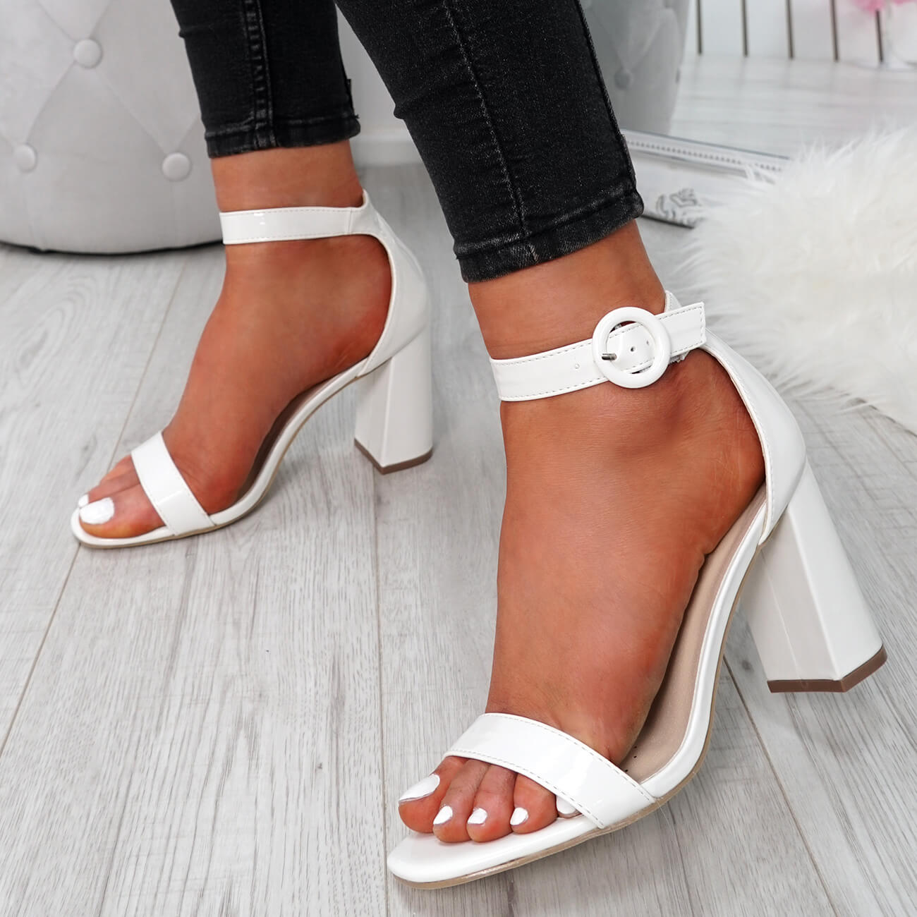 WOMENS-LADIES-ANKLE-STRAP-BLOCK-HEEL-PEEP-TOE-SANDALS-SUMMER-SHOES-SIZE-UK thumbnail 24