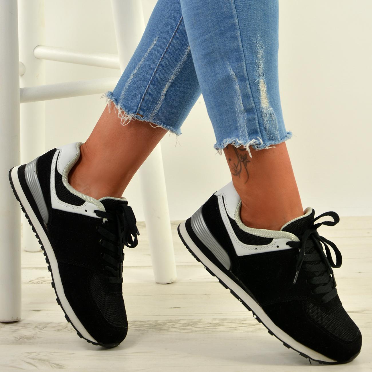 Nuevo-Para-mujeres-Damas-Correr-Gimnasio-con-Cordones-Moda-Tenis-Zapatillas-Zapatos-Talla-Uk