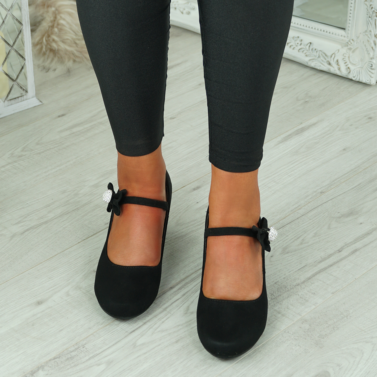 NEW-WOMENS-BLOCK-HEEL-PUMPS-BOW-BUCKLE-STRAP-ROUNDED-TOE-CASUAL-SHOES-SIZE thumbnail 7