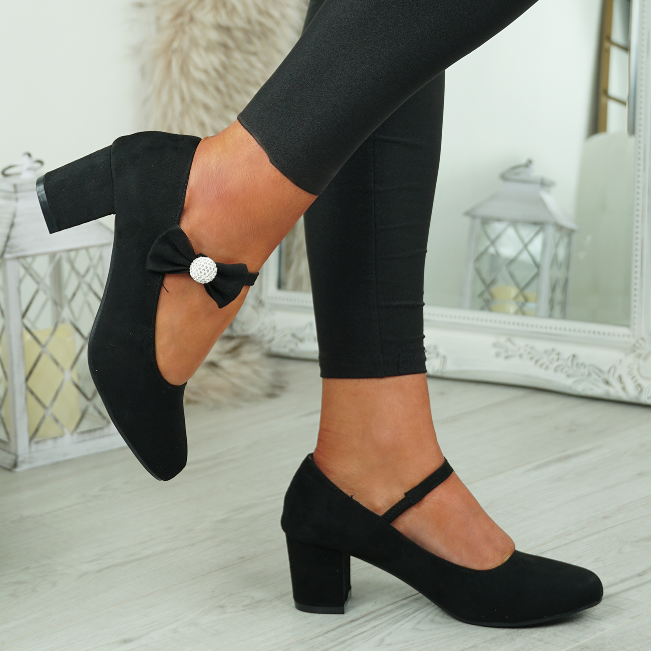 NEW-WOMENS-BLOCK-HEEL-PUMPS-BOW-BUCKLE-STRAP-ROUNDED-TOE-CASUAL-SHOES-SIZE thumbnail 8