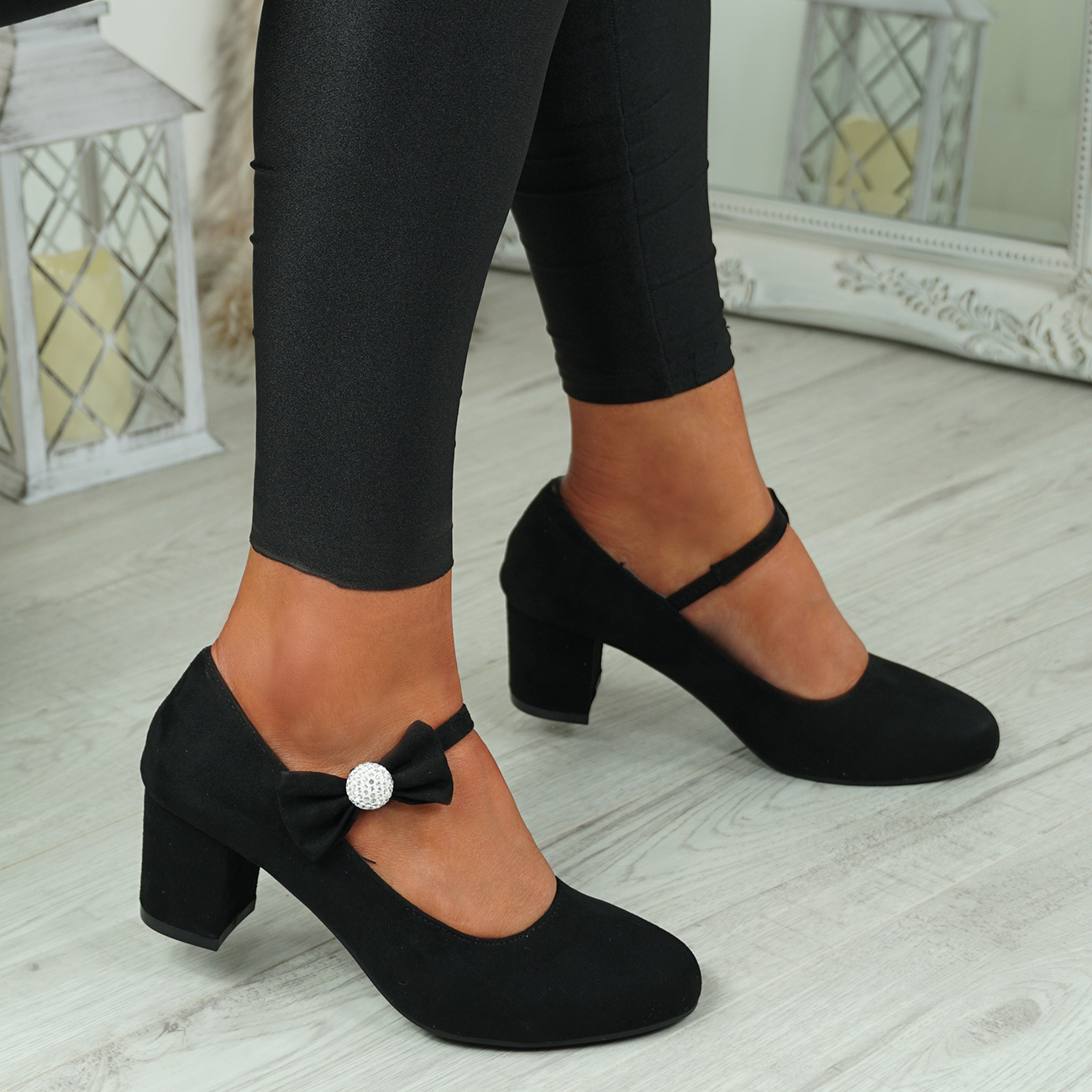 NEW-WOMENS-BLOCK-HEEL-PUMPS-BOW-BUCKLE-STRAP-ROUNDED-TOE-CASUAL-SHOES-SIZE thumbnail 9
