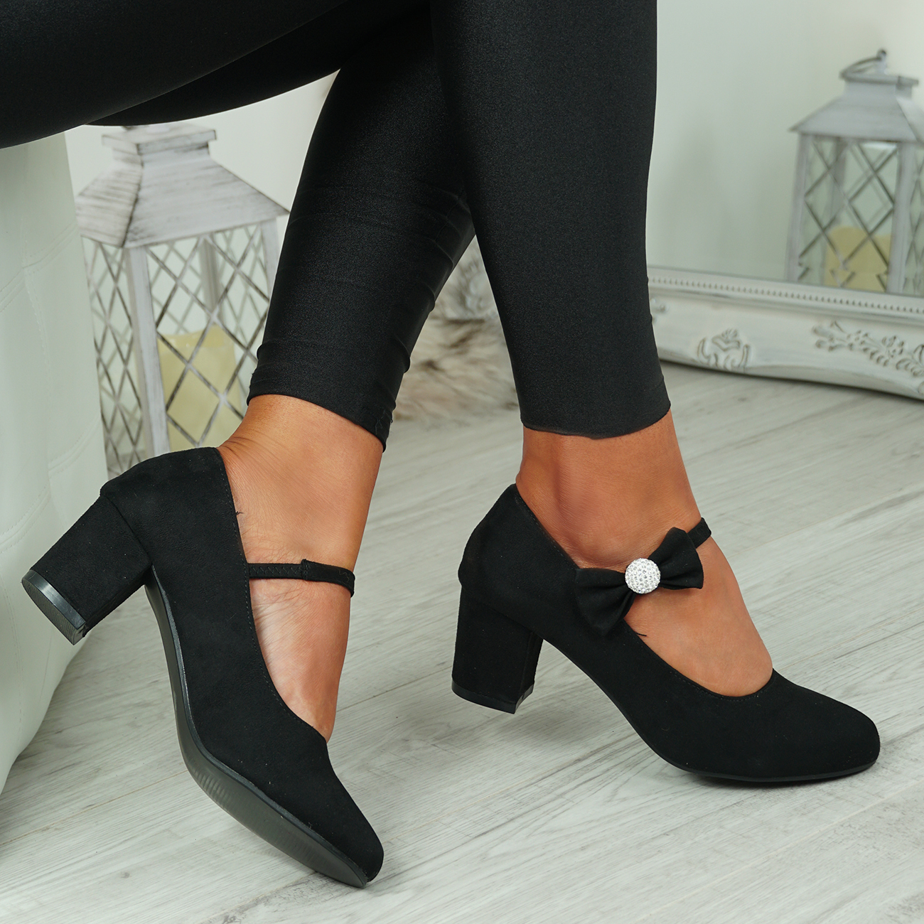 NEW-WOMENS-BLOCK-HEEL-PUMPS-BOW-BUCKLE-STRAP-ROUNDED-TOE-CASUAL-SHOES-SIZE thumbnail 10
