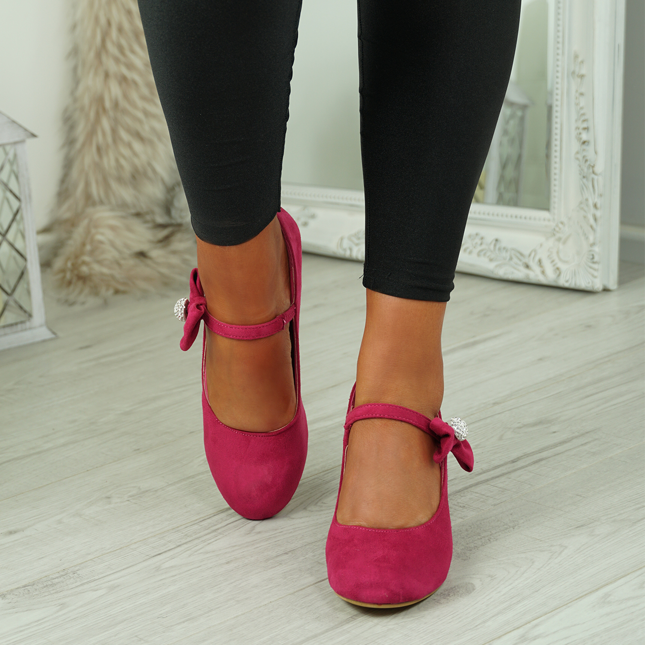NEW-WOMENS-BLOCK-HEEL-PUMPS-BOW-BUCKLE-STRAP-ROUNDED-TOE-CASUAL-SHOES-SIZE thumbnail 12