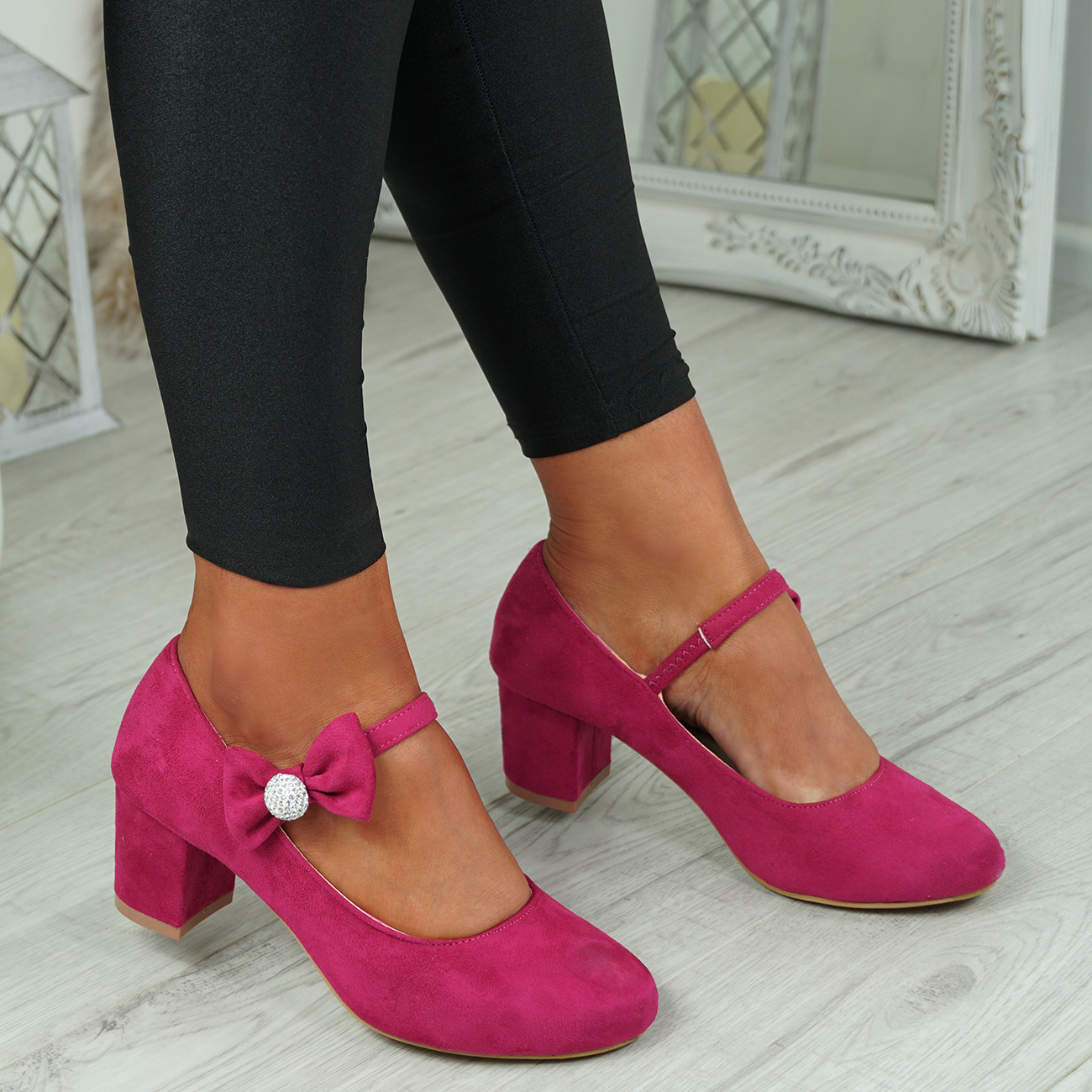NEW-WOMENS-BLOCK-HEEL-PUMPS-BOW-BUCKLE-STRAP-ROUNDED-TOE-CASUAL-SHOES-SIZE thumbnail 13