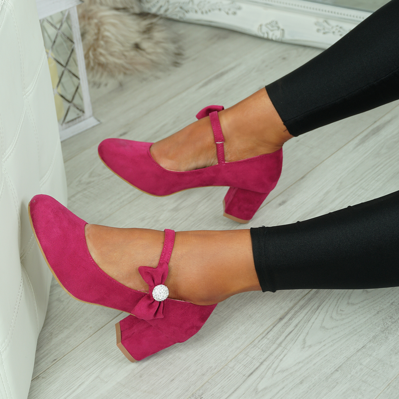 NEW-WOMENS-BLOCK-HEEL-PUMPS-BOW-BUCKLE-STRAP-ROUNDED-TOE-CASUAL-SHOES-SIZE thumbnail 14
