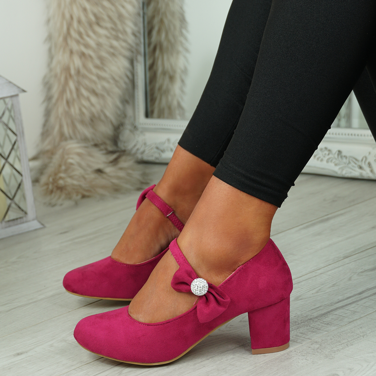 NEW-WOMENS-BLOCK-HEEL-PUMPS-BOW-BUCKLE-STRAP-ROUNDED-TOE-CASUAL-SHOES-SIZE thumbnail 15