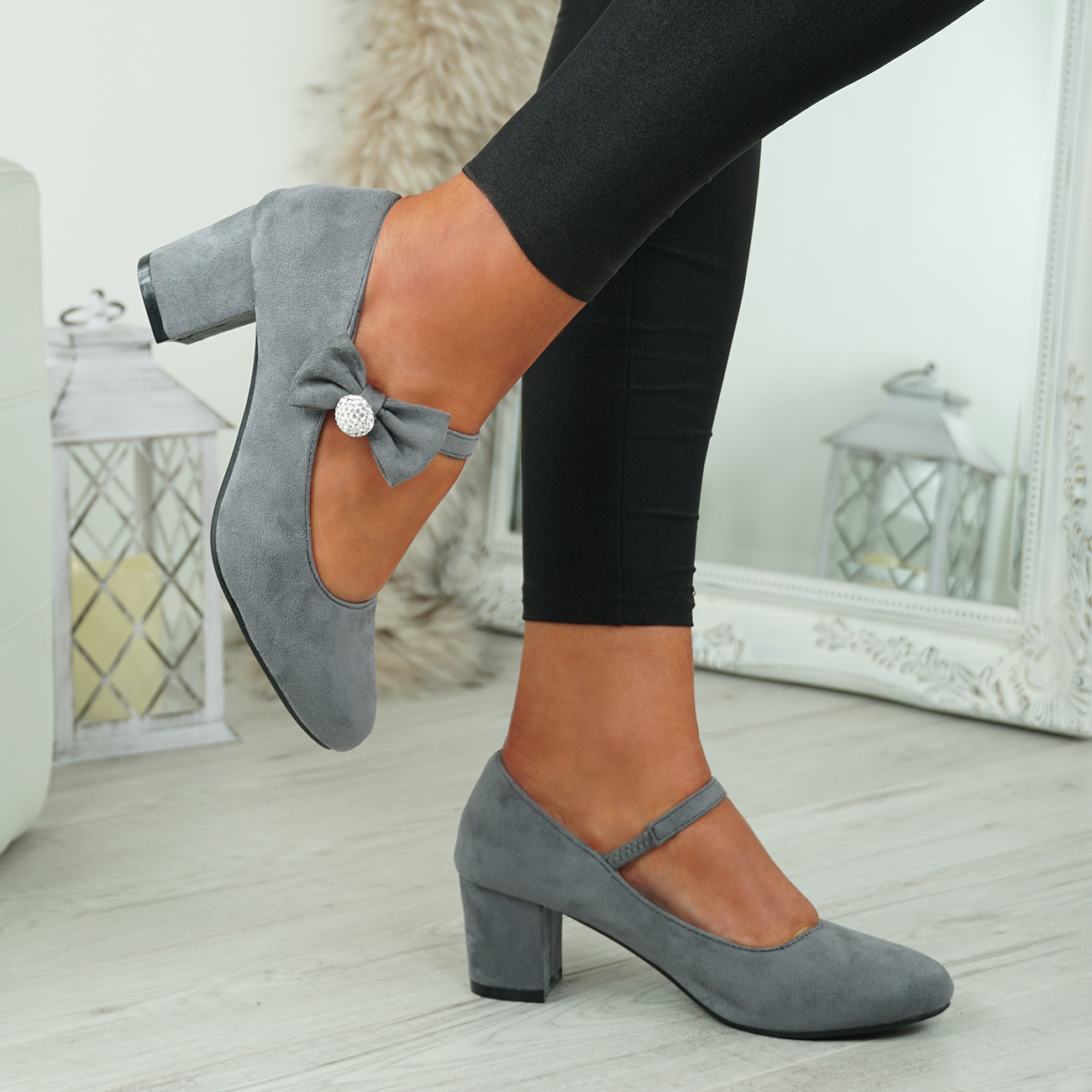 NEW-WOMENS-BLOCK-HEEL-PUMPS-BOW-BUCKLE-STRAP-ROUNDED-TOE-CASUAL-SHOES-SIZE thumbnail 18