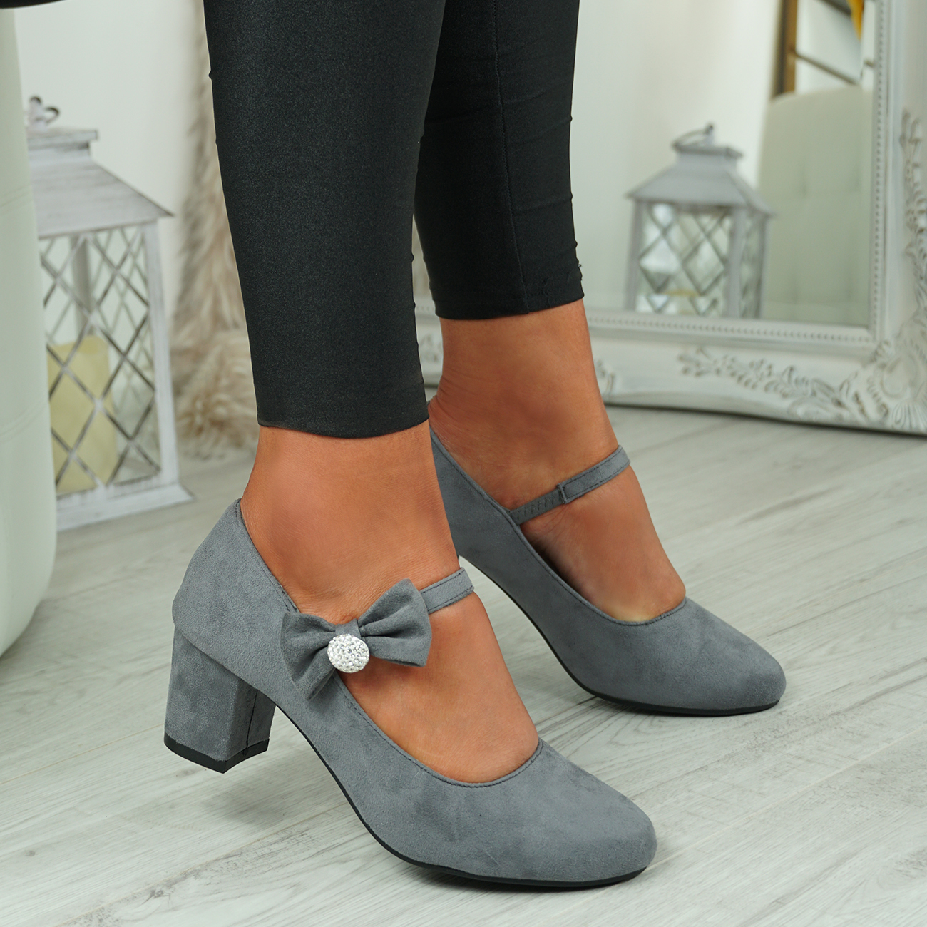 NEW-WOMENS-BLOCK-HEEL-PUMPS-BOW-BUCKLE-STRAP-ROUNDED-TOE-CASUAL-SHOES-SIZE thumbnail 19