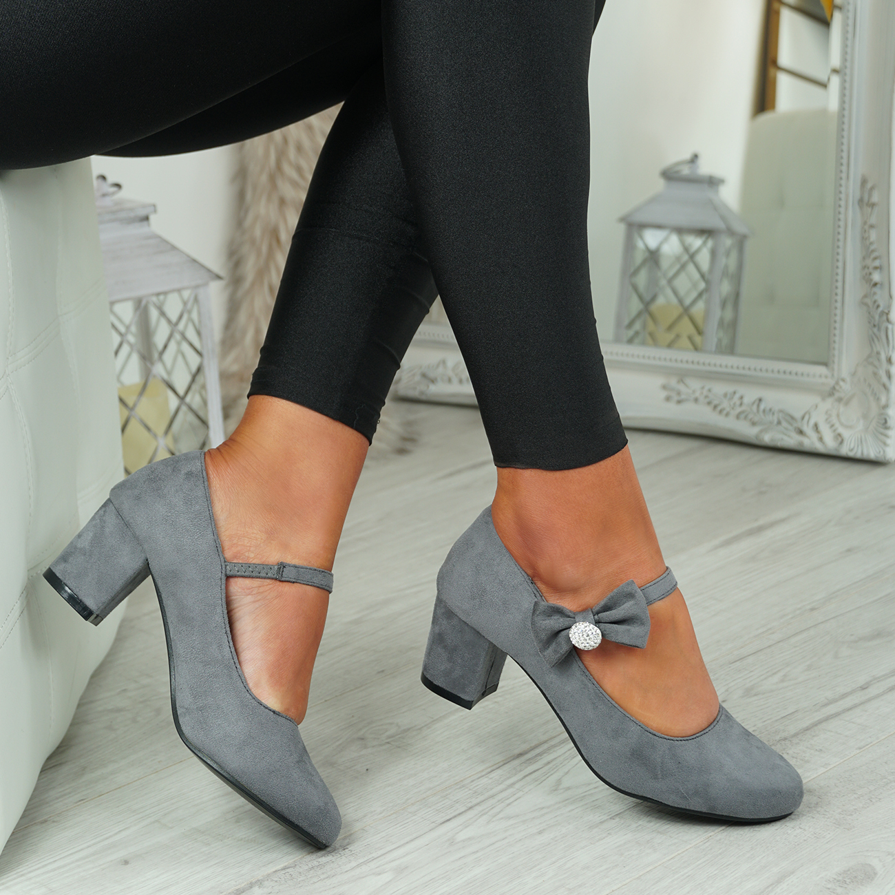 NEW-WOMENS-BLOCK-HEEL-PUMPS-BOW-BUCKLE-STRAP-ROUNDED-TOE-CASUAL-SHOES-SIZE thumbnail 20