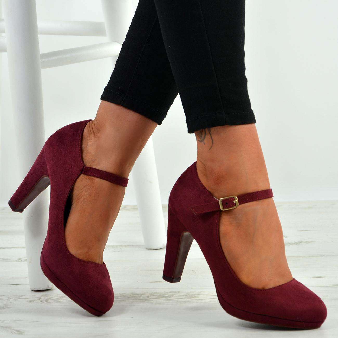 New Womens Ankle Strap Pumps Ladies High Block Heel Buckle ...
