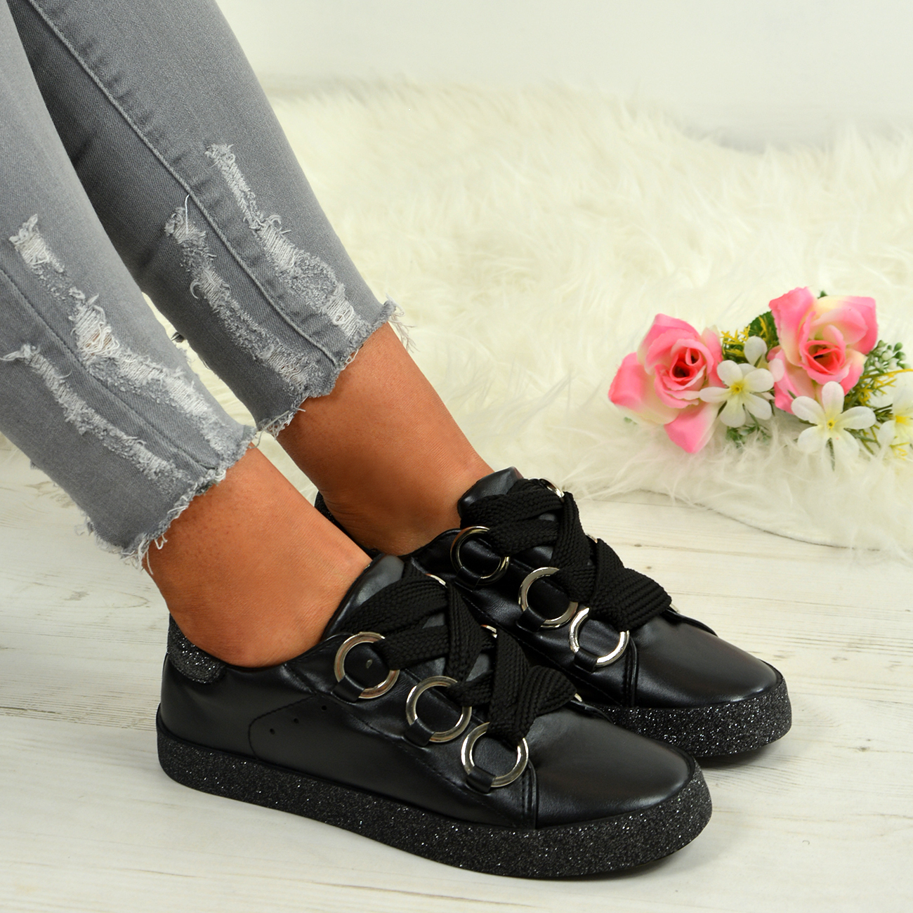 LADIES-WOMENS-GLITTER-SNEAKERS-SPARKLE-TRAINERS-LACE-UP-PLIMSOLL-PUMPS-SHOES thumbnail 7