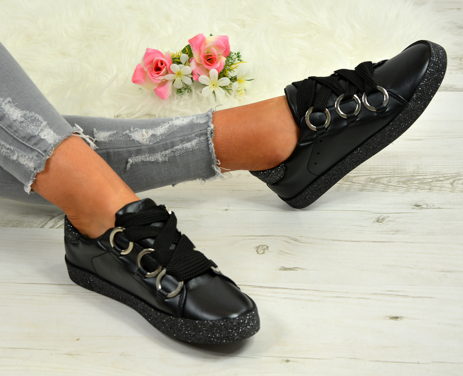 LADIES-WOMENS-GLITTER-SNEAKERS-SPARKLE-TRAINERS-LACE-UP-PLIMSOLL-PUMPS-SHOES thumbnail 8