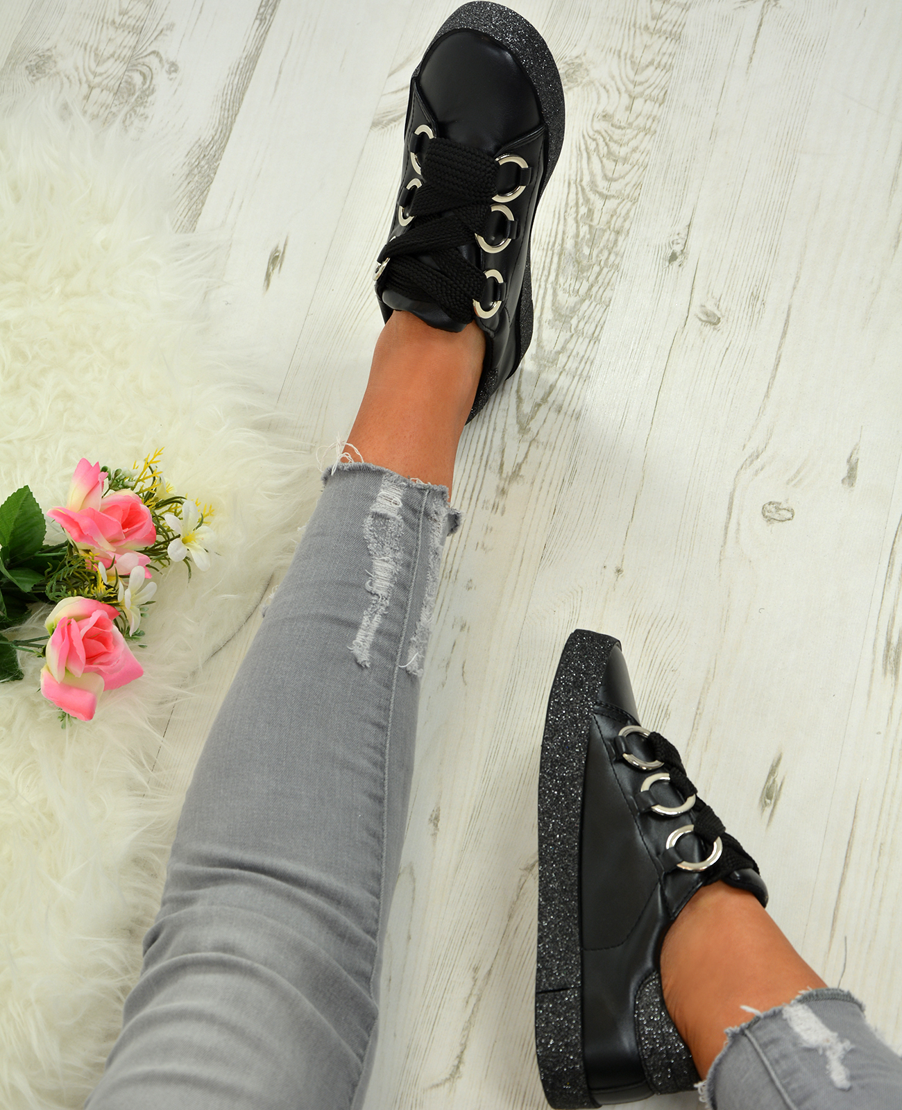 LADIES-WOMENS-GLITTER-SNEAKERS-SPARKLE-TRAINERS-LACE-UP-PLIMSOLL-PUMPS-SHOES thumbnail 9