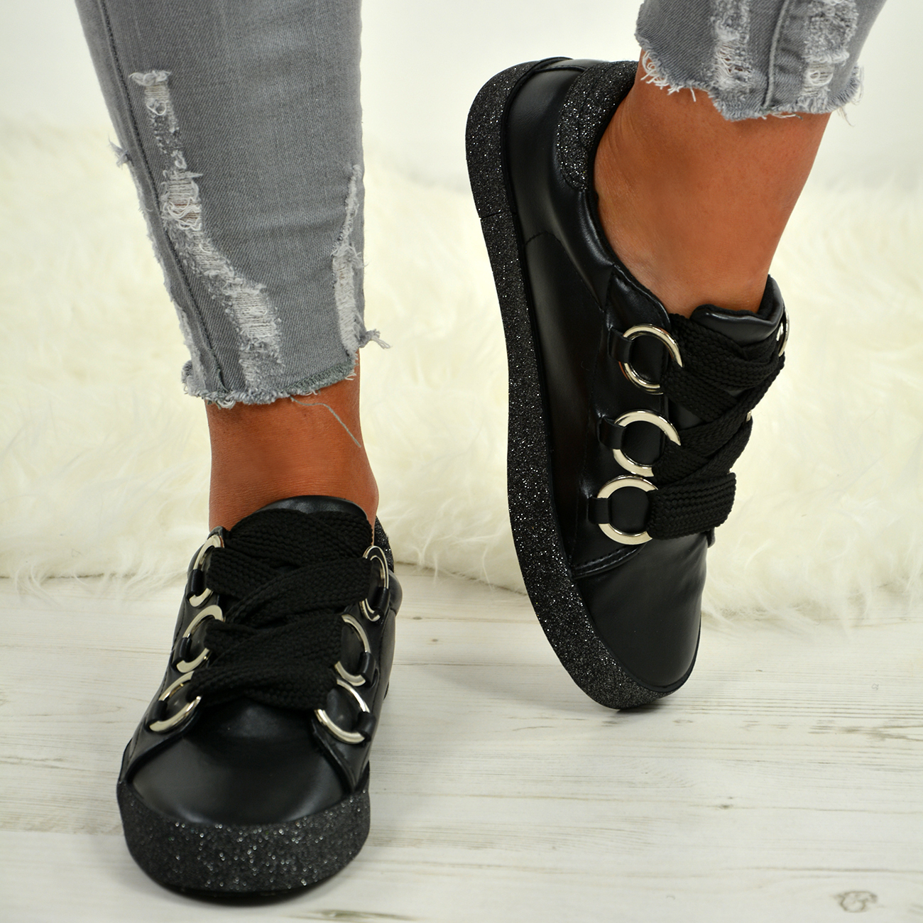 LADIES-WOMENS-GLITTER-SNEAKERS-SPARKLE-TRAINERS-LACE-UP-PLIMSOLL-PUMPS-SHOES thumbnail 10