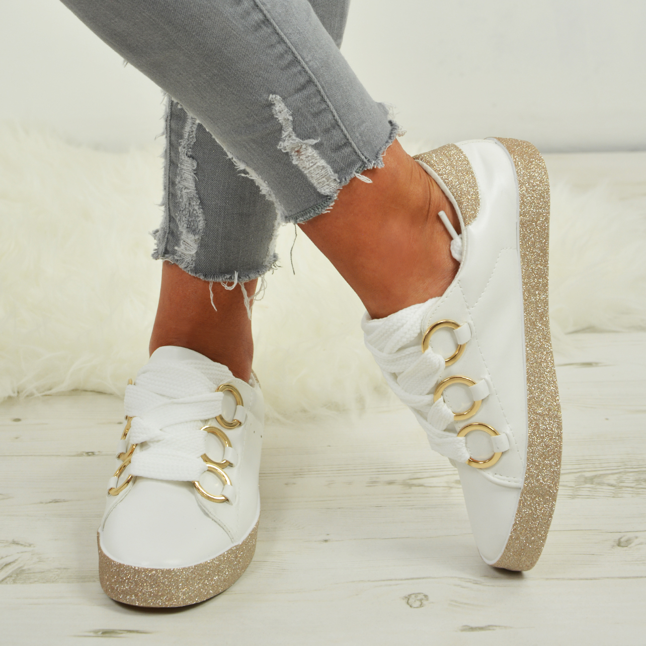 LADIES-WOMENS-GLITTER-SNEAKERS-SPARKLE-TRAINERS-LACE-UP-PLIMSOLL-PUMPS-SHOES thumbnail 17