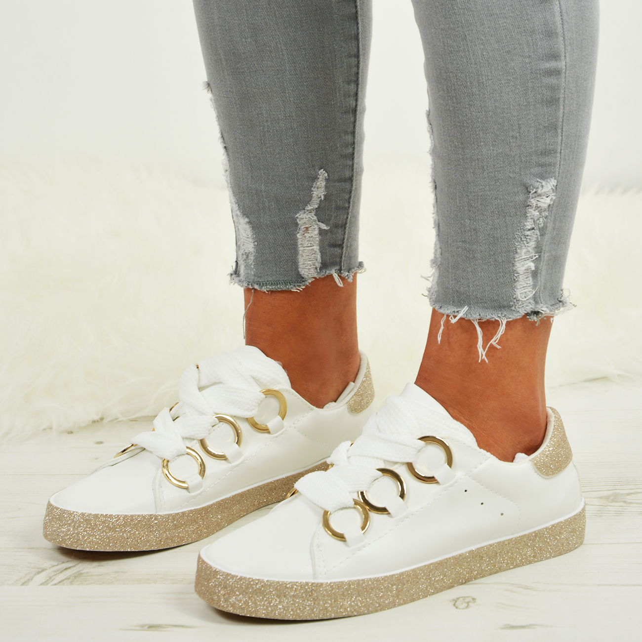 LADIES-WOMENS-GLITTER-SNEAKERS-SPARKLE-TRAINERS-LACE-UP-PLIMSOLL-PUMPS-SHOES thumbnail 18