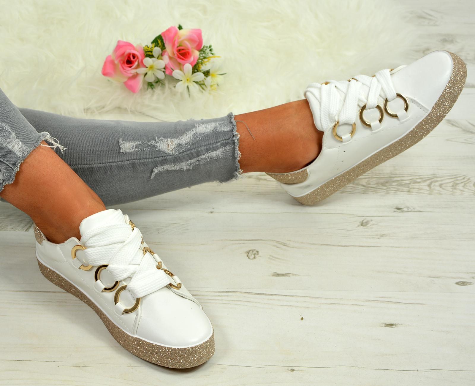 LADIES-WOMENS-GLITTER-SNEAKERS-SPARKLE-TRAINERS-LACE-UP-PLIMSOLL-PUMPS-SHOES thumbnail 19