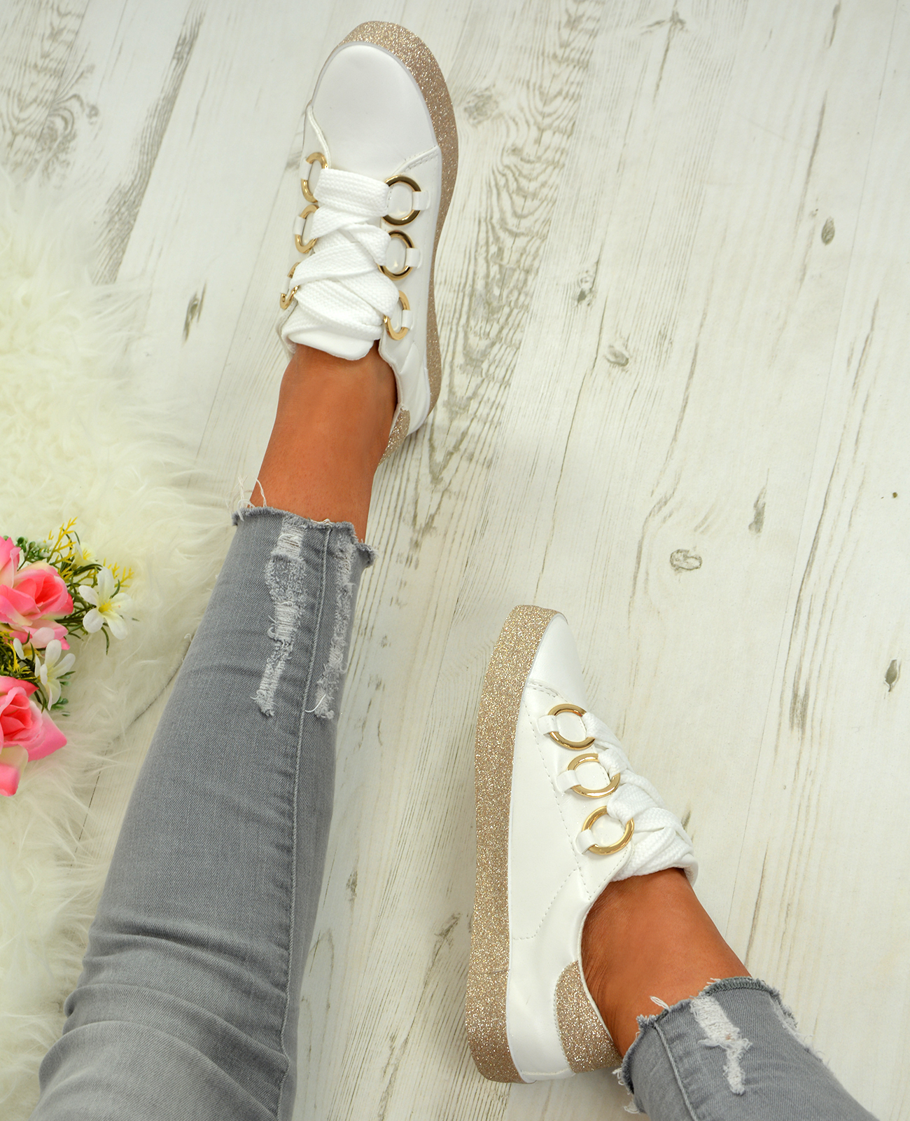 LADIES-WOMENS-GLITTER-SNEAKERS-SPARKLE-TRAINERS-LACE-UP-PLIMSOLL-PUMPS-SHOES thumbnail 20