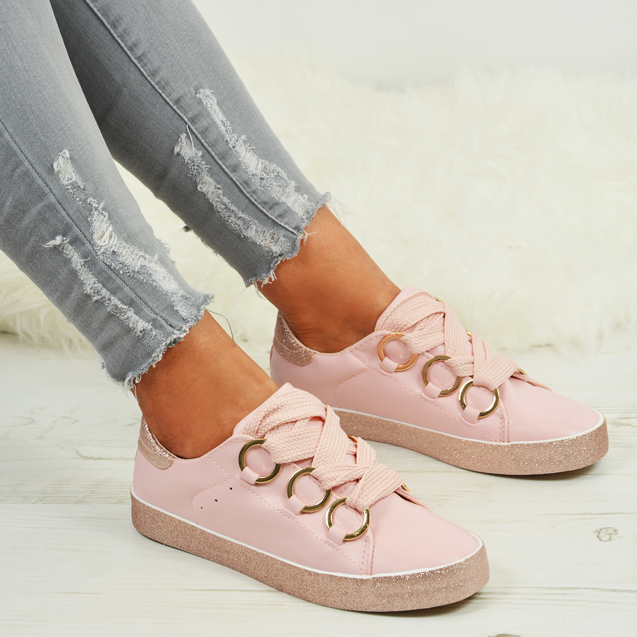 LADIES-WOMENS-GLITTER-SNEAKERS-SPARKLE-TRAINERS-LACE-UP-PLIMSOLL-PUMPS-SHOES thumbnail 12