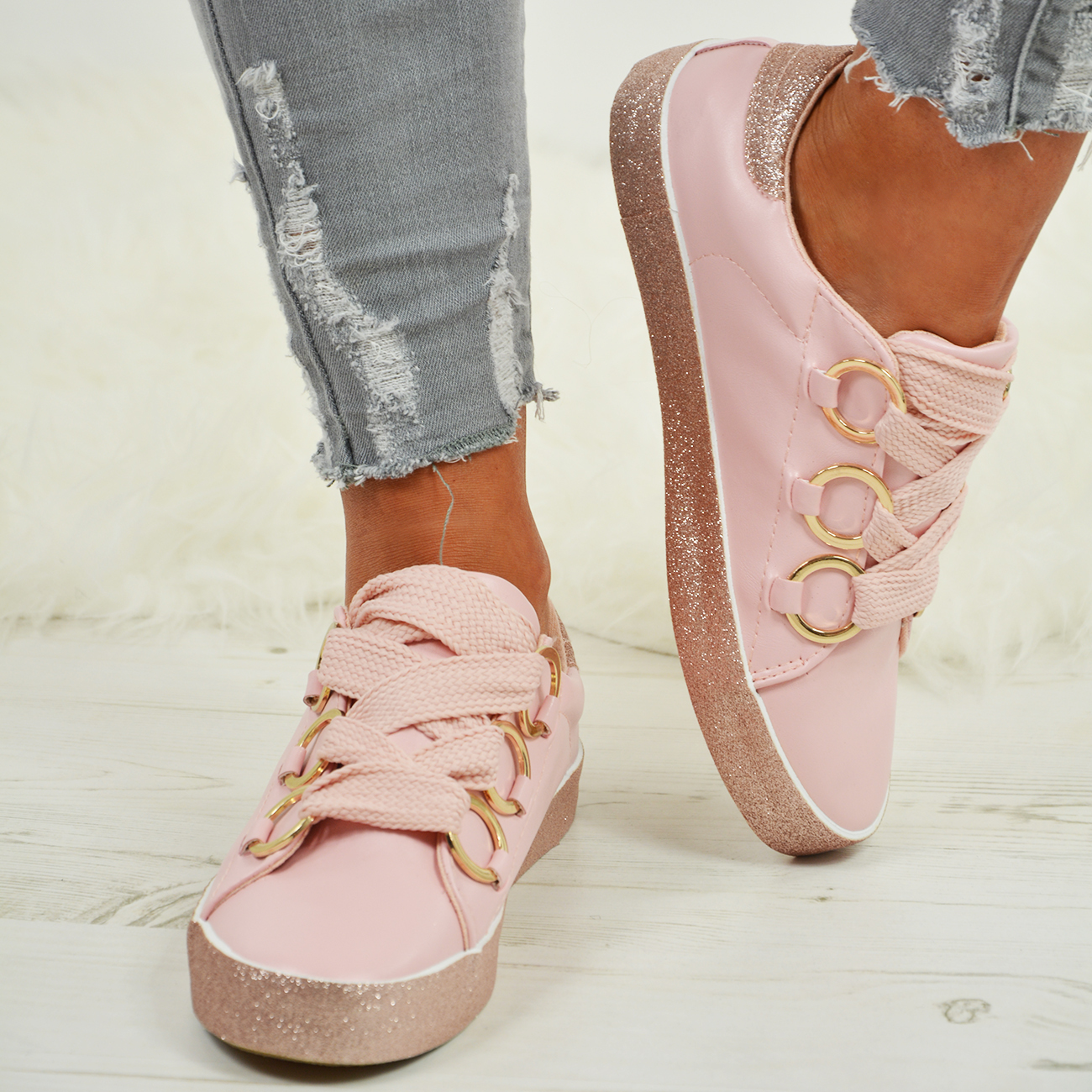 LADIES-WOMENS-GLITTER-SNEAKERS-SPARKLE-TRAINERS-LACE-UP-PLIMSOLL-PUMPS-SHOES thumbnail 13