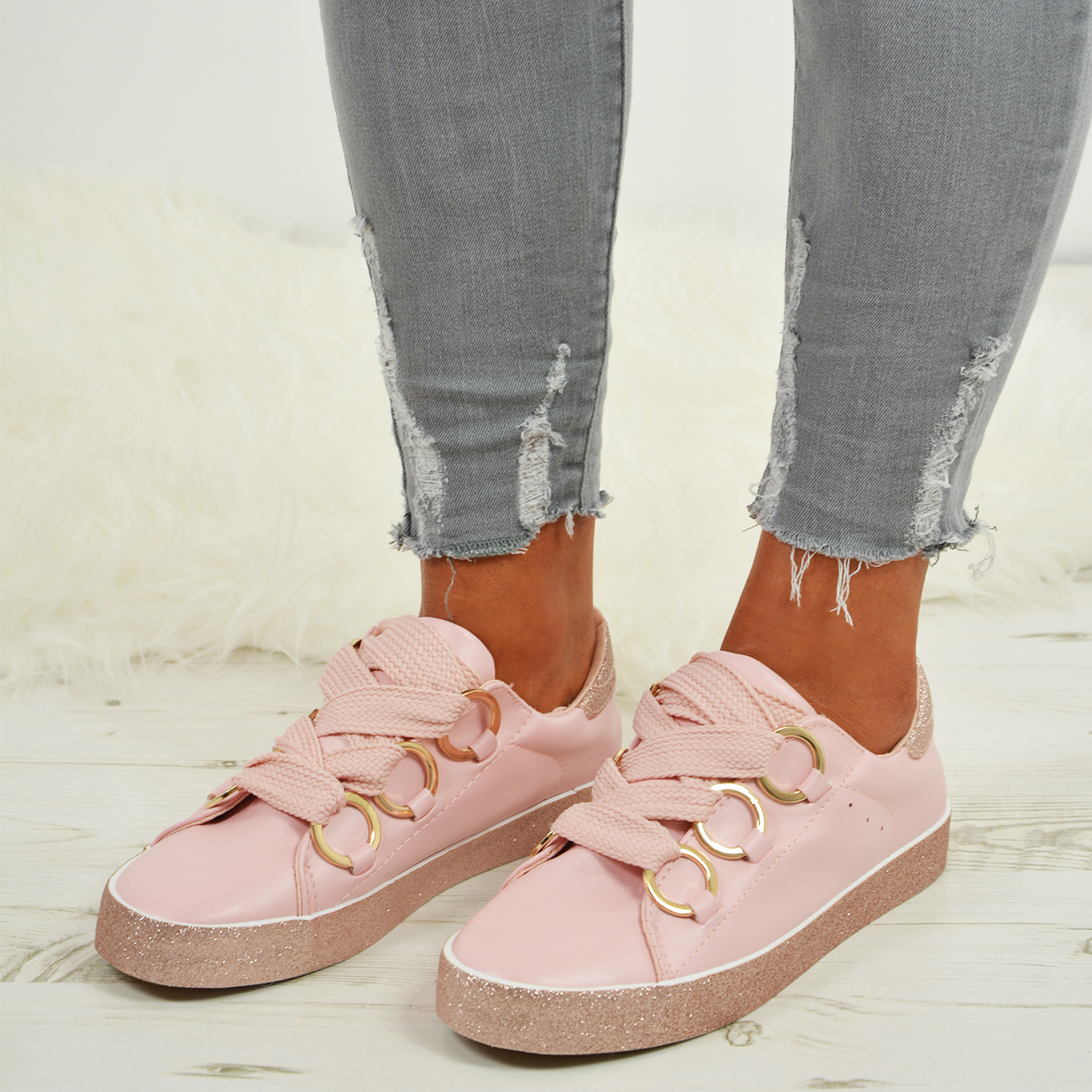 LADIES-WOMENS-GLITTER-SNEAKERS-SPARKLE-TRAINERS-LACE-UP-PLIMSOLL-PUMPS-SHOES thumbnail 14
