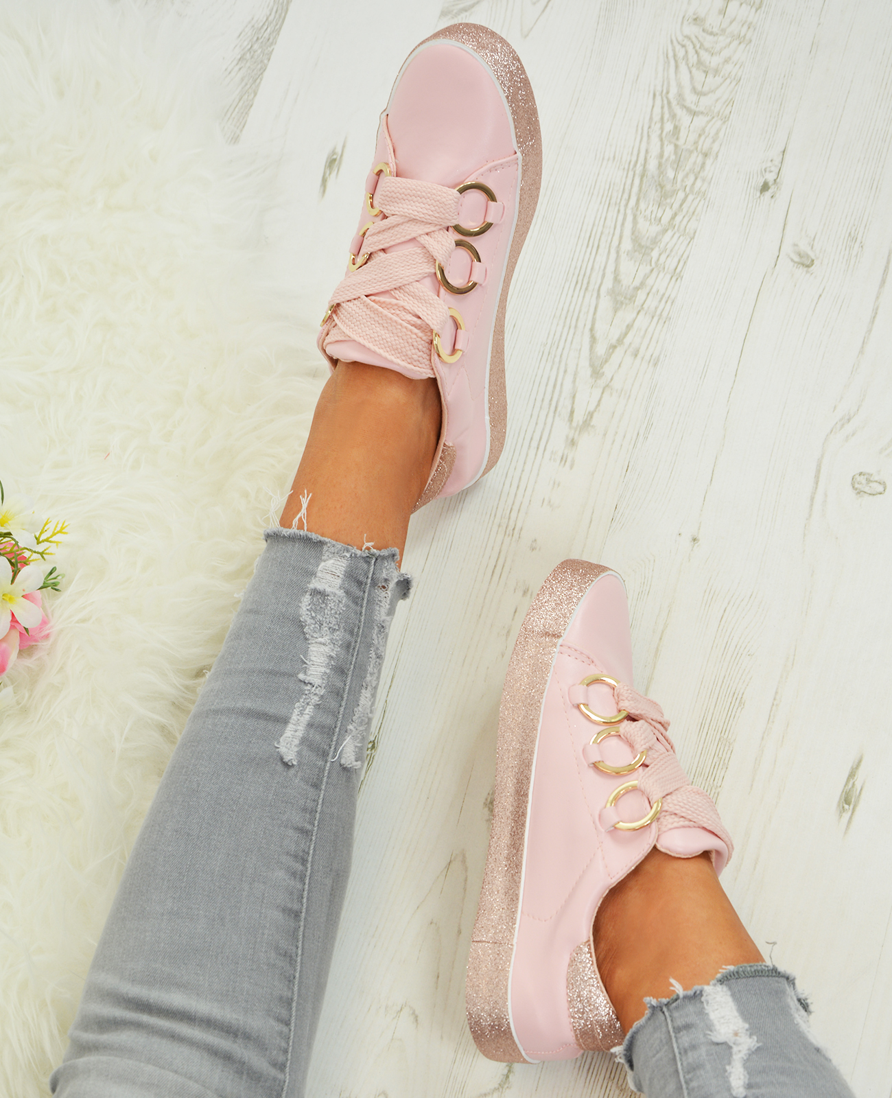 LADIES-WOMENS-GLITTER-SNEAKERS-SPARKLE-TRAINERS-LACE-UP-PLIMSOLL-PUMPS-SHOES thumbnail 15