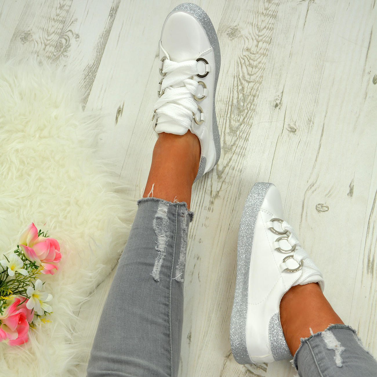LADIES-WOMENS-GLITTER-SNEAKERS-SPARKLE-TRAINERS-LACE-UP-PLIMSOLL-PUMPS-SHOES thumbnail 27