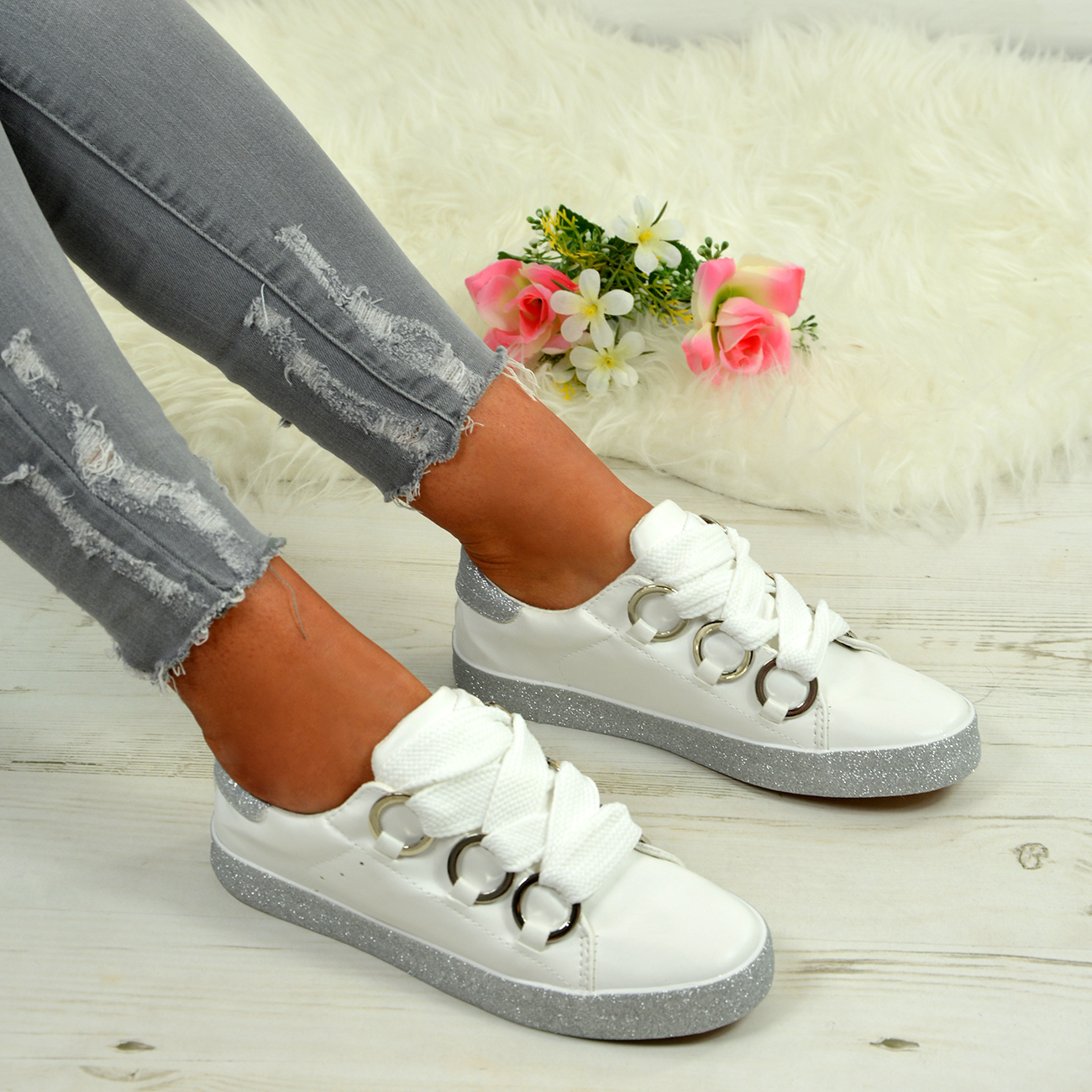LADIES-WOMENS-GLITTER-SNEAKERS-SPARKLE-TRAINERS-LACE-UP-PLIMSOLL-PUMPS-SHOES thumbnail 28