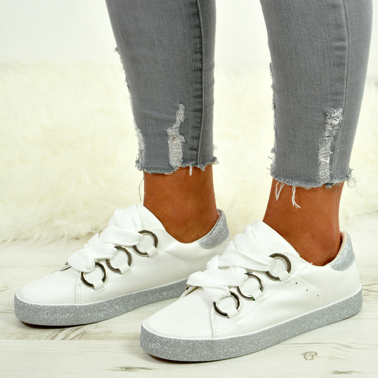 LADIES-WOMENS-GLITTER-SNEAKERS-SPARKLE-TRAINERS-LACE-UP-PLIMSOLL-PUMPS-SHOES thumbnail 30