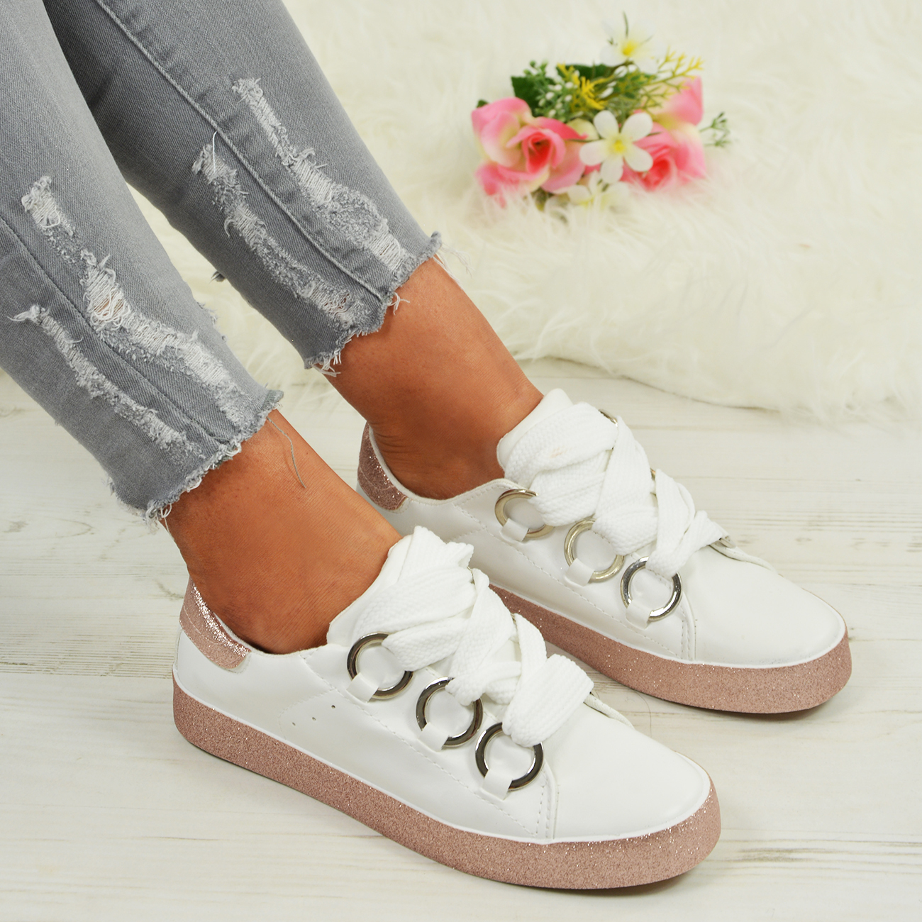 LADIES-WOMENS-GLITTER-SNEAKERS-SPARKLE-TRAINERS-LACE-UP-PLIMSOLL-PUMPS-SHOES thumbnail 22