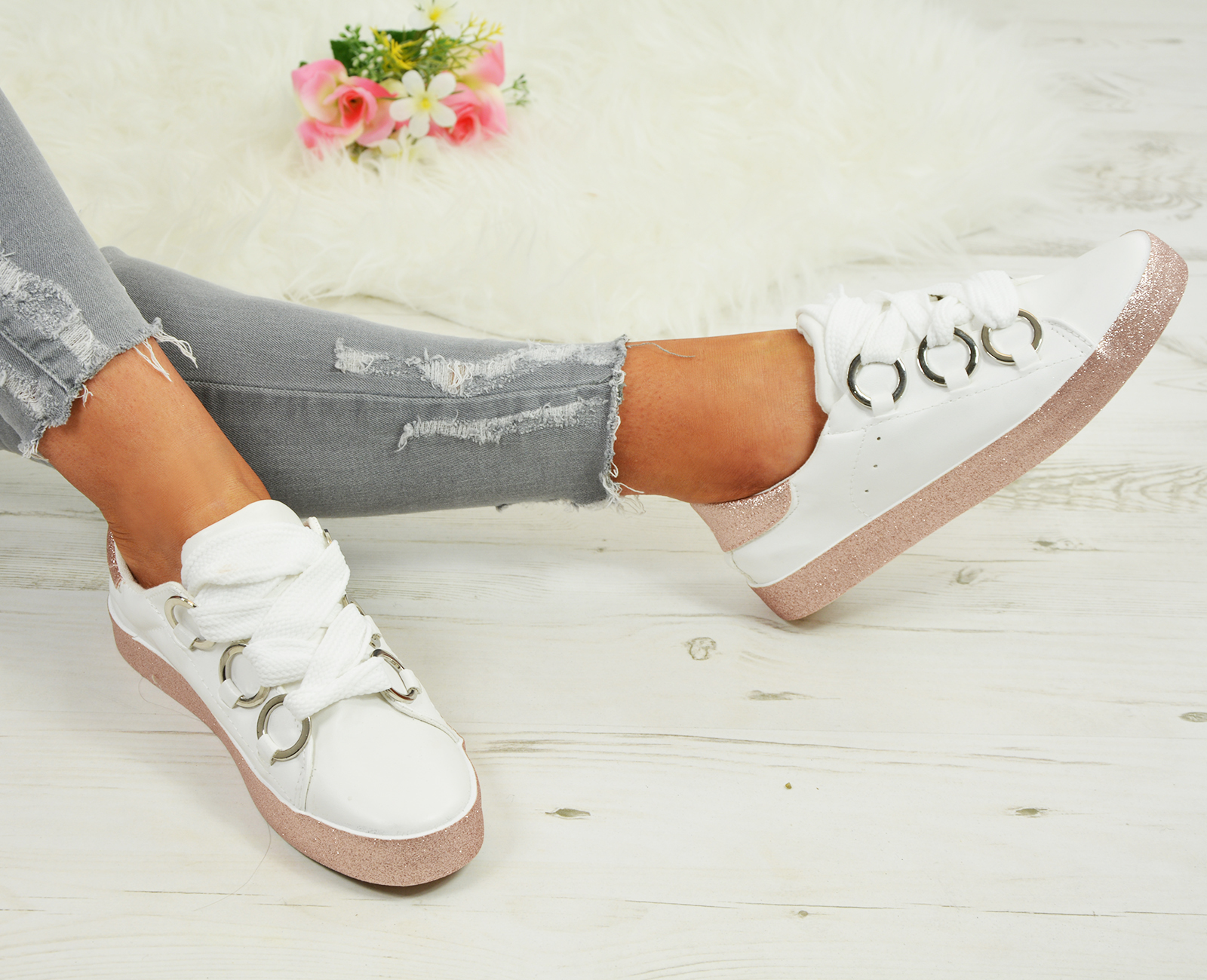 LADIES-WOMENS-GLITTER-SNEAKERS-SPARKLE-TRAINERS-LACE-UP-PLIMSOLL-PUMPS-SHOES thumbnail 23