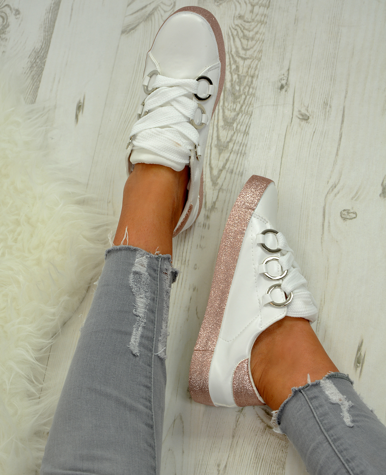 LADIES-WOMENS-GLITTER-SNEAKERS-SPARKLE-TRAINERS-LACE-UP-PLIMSOLL-PUMPS-SHOES thumbnail 24