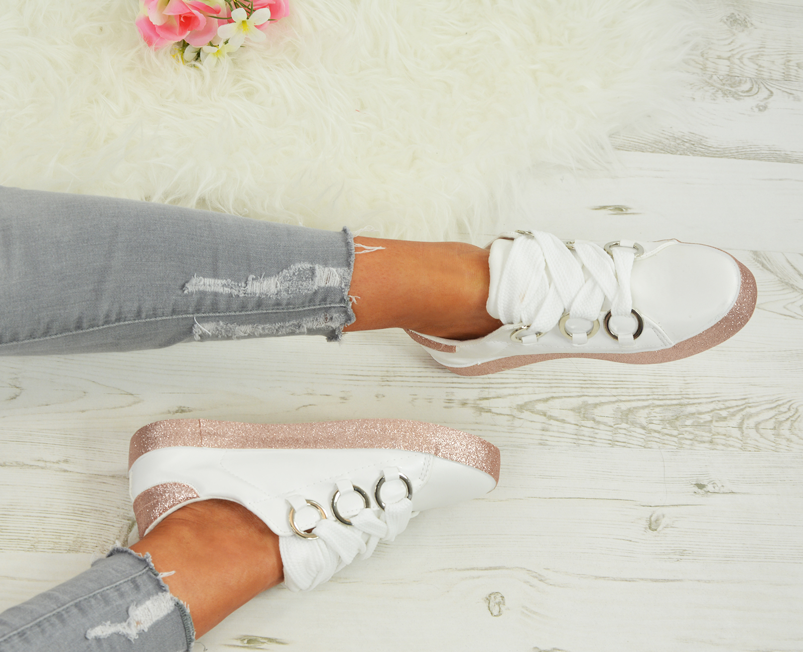 LADIES-WOMENS-GLITTER-SNEAKERS-SPARKLE-TRAINERS-LACE-UP-PLIMSOLL-PUMPS-SHOES thumbnail 25