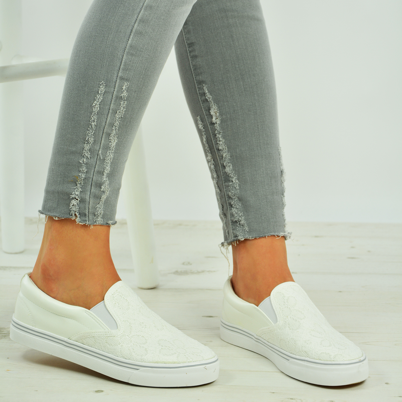 new womens slip on plimsolls lace floral sneakers trainers