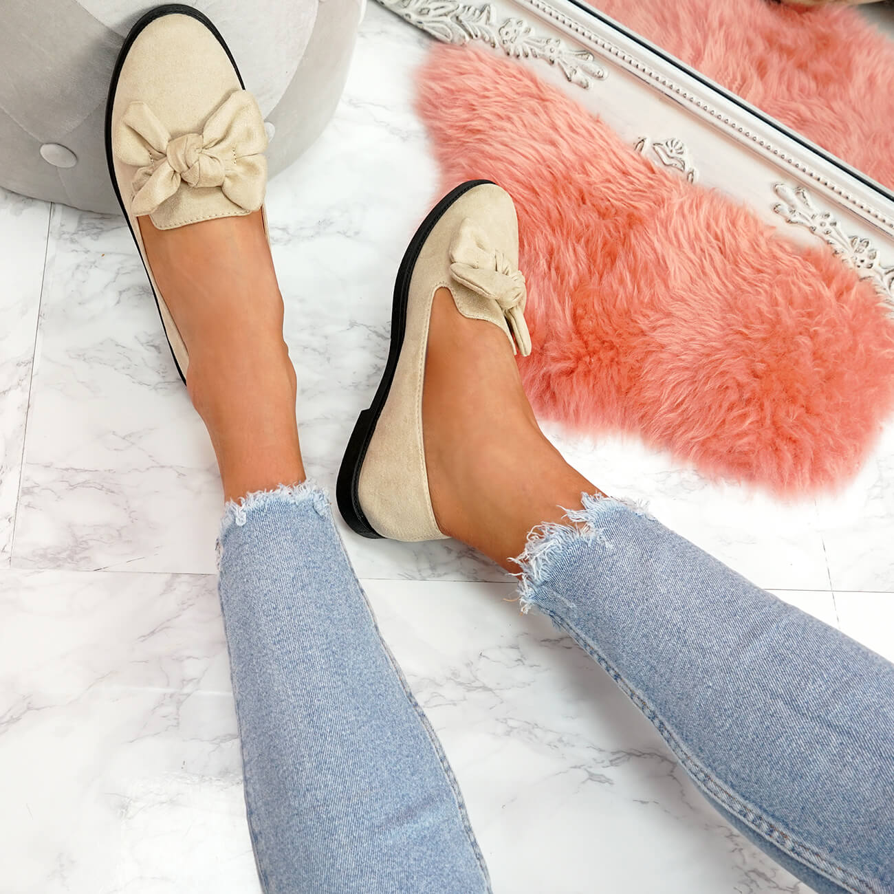 WOMENS-LADIES-BOW-BALLERINA-PUMPS-FLATS-SLIP-ON-BALLET-CASUAL-WORK-SHOES-SIZE thumbnail 8