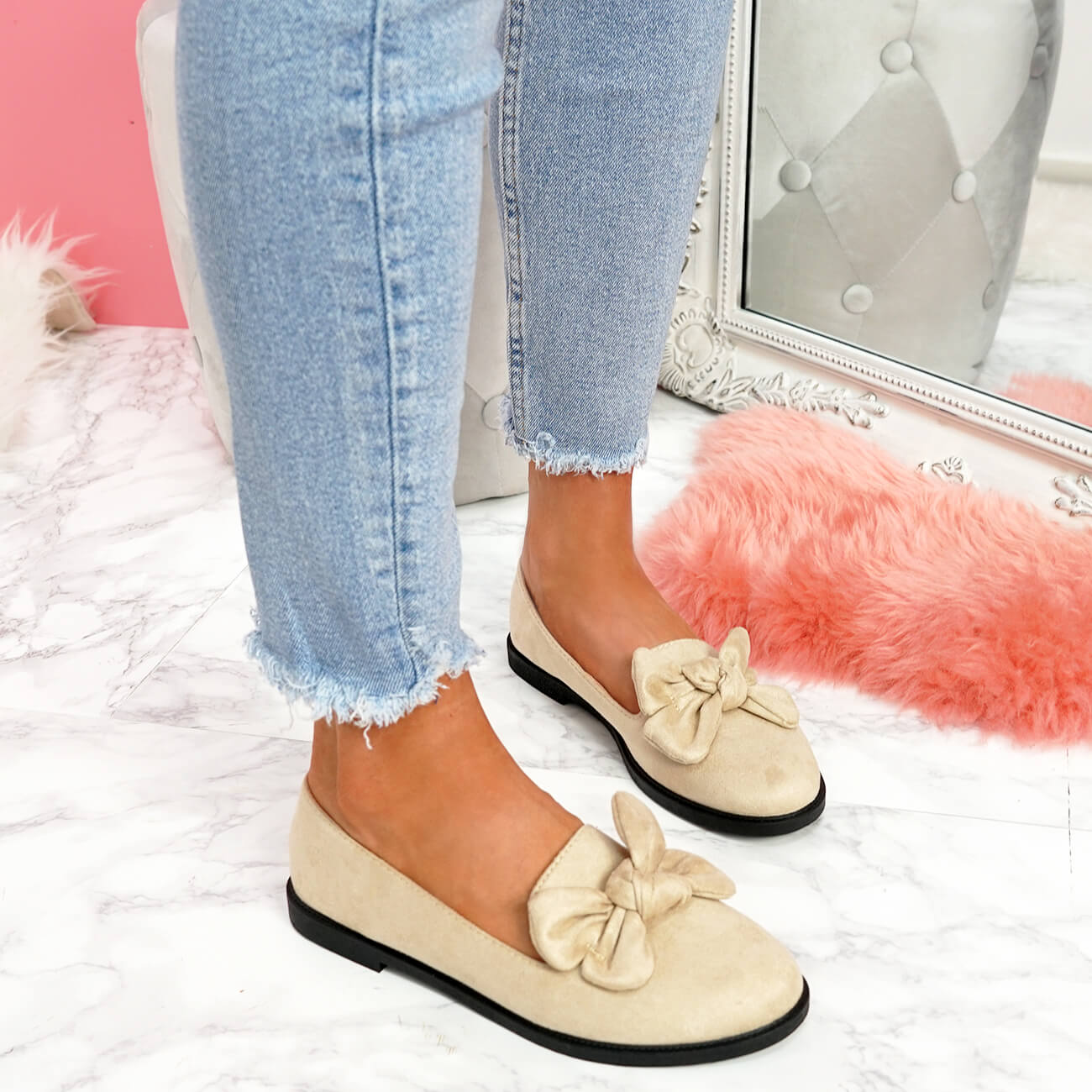 WOMENS-LADIES-BOW-BALLERINA-PUMPS-FLATS-SLIP-ON-BALLET-CASUAL-WORK-SHOES-SIZE thumbnail 9