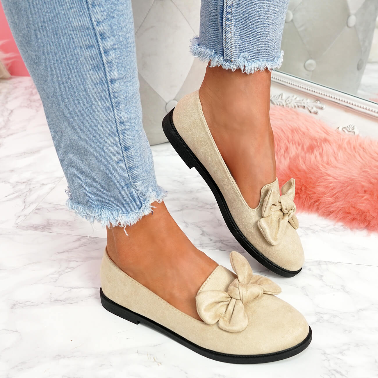WOMENS-LADIES-BOW-BALLERINA-PUMPS-FLATS-SLIP-ON-BALLET-CASUAL-WORK-SHOES-SIZE thumbnail 10