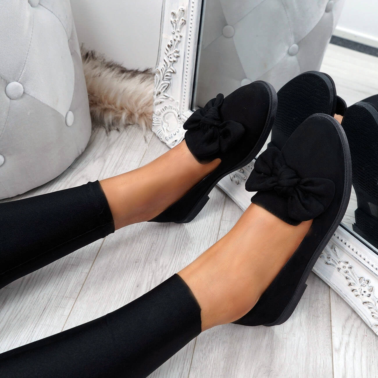 WOMENS-LADIES-BOW-BALLERINA-PUMPS-FLATS-SLIP-ON-BALLET-CASUAL-WORK-SHOES-SIZE thumbnail 12